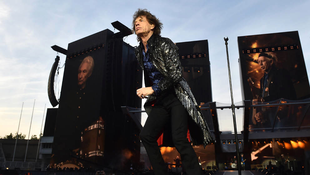 DUBLIN, IRELAND - MAY 17: Mick Jagger of The Rolling Stones perform live on stage on the opening night of the european leg of