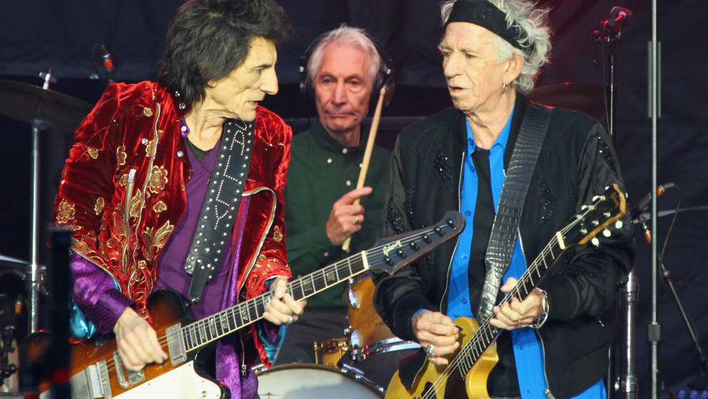 DUBLIN, IRELAND - MAY 17:  Ronnie Wood, Charlie Watts and Keith Richards from The Rolling Stones perform live on stage at Cro