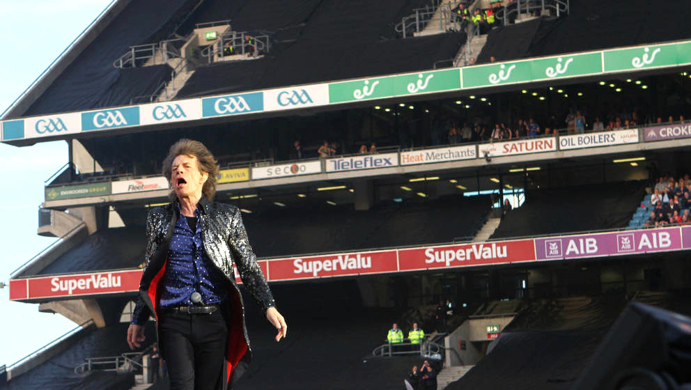 DUBLIN, IRELAND - MAY 17:  Mick Jagger from The Rolling Stones performs live on stage at Croke Park on May 17, 2018 in Dublin
