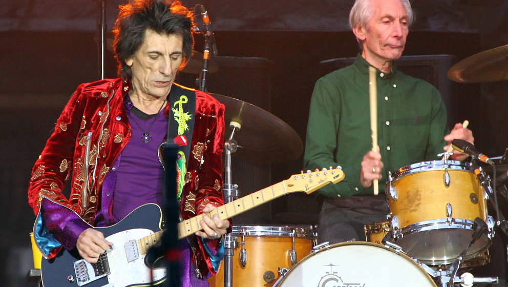 DUBLIN, IRELAND - MAY 17:  Ronnie Wood and Charlie Watts from The Rolling Stones perform live on stage at Croke Park on May 1