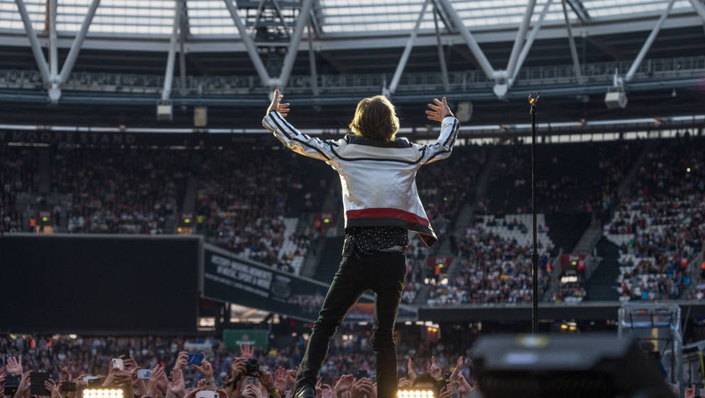 LONDON, ENGLAND - MAY 22: Mick Jagger of The Rolling Stones performs live on stage at London Stadium on May 22, 2018 in Londo