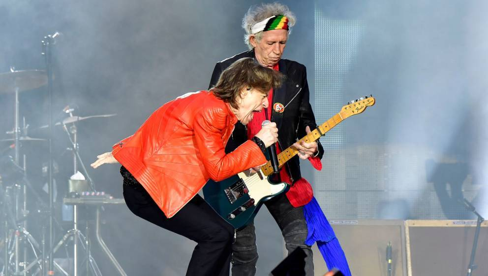 Rolling Stones' Mick Jagger (L) and Keith Richards perform during a concert at Berlin's Olympic Stadium on June 22, 2018. (Ph