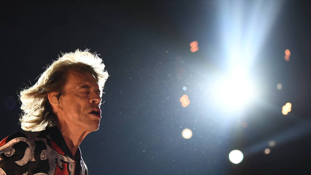British musician Mick Jagger of The Rolling Stones performs during a concert at The Velodrome Stadium in Marseille on June 26