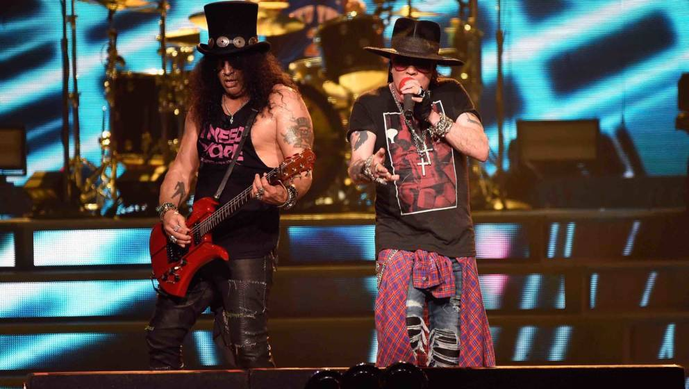 NEW YORK, NY - OCTOBER 11:  Slash and Axl Rose of Guns N' Roses perform onstage during the 'Not In This Lifetime...' Tour  at