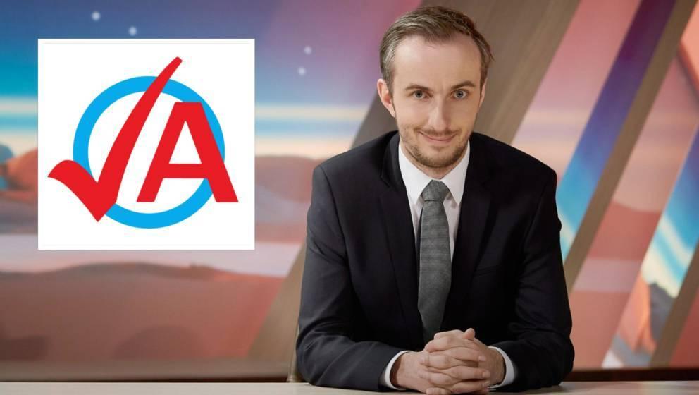Jan Böhmermann und das Logo der Jungen Alternative