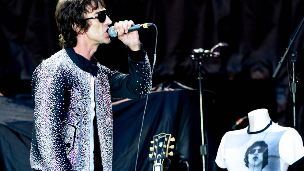 MANCHESTER, ENGLAND - JUNE 05:  Richard Ashcroft supports The Rolling Stones live on stage at Old Trafford on June 5, 2018 in