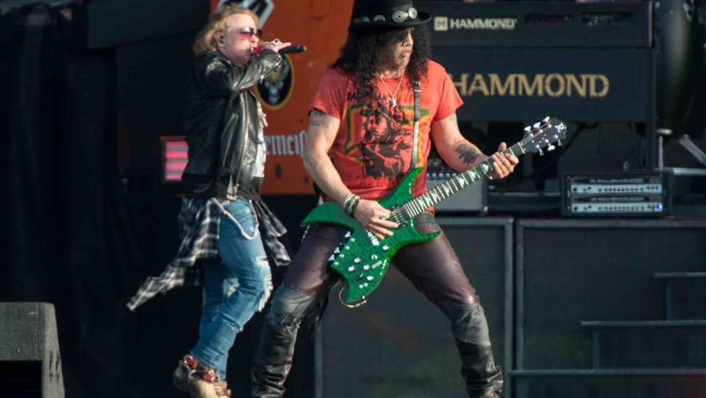 DONINGTON, ENGLAND - JUNE 09: Axl Rose and Slash of Guns N Roses perform onstage on Day 2 of the Download Festival at Doningt