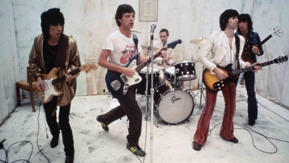 Die Rolling Stones bei den Aufnahmen für ihr Musikvideo zu 'Respectable', 1978