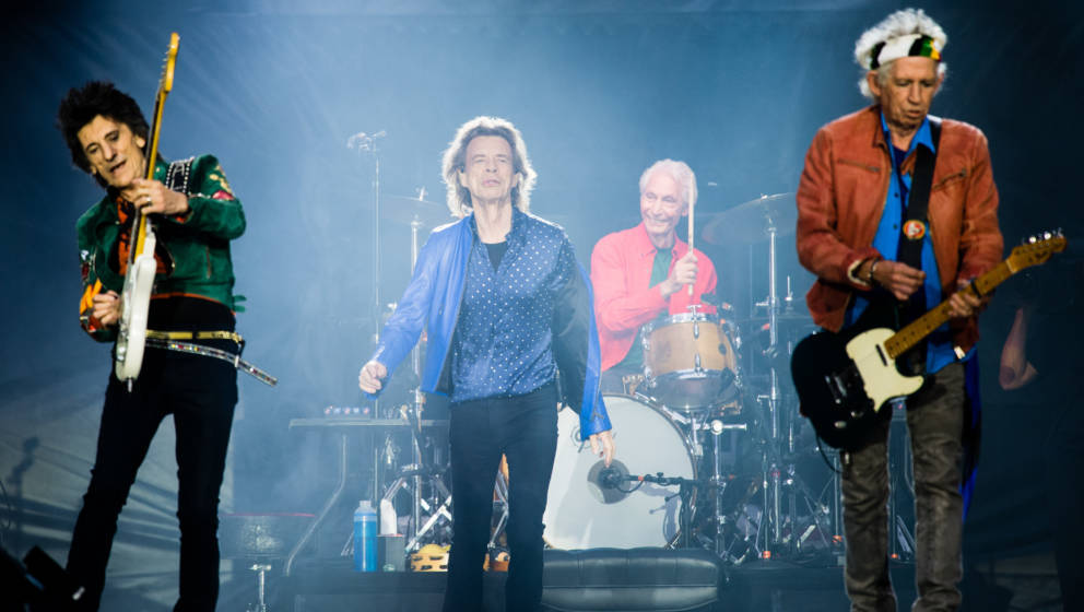 CARDIFF, WALES - JUNE 15:  Ronnie Wood, Mick Jagger,Charlie Watts and Keith Richards of The Rolling Stones perform live on st