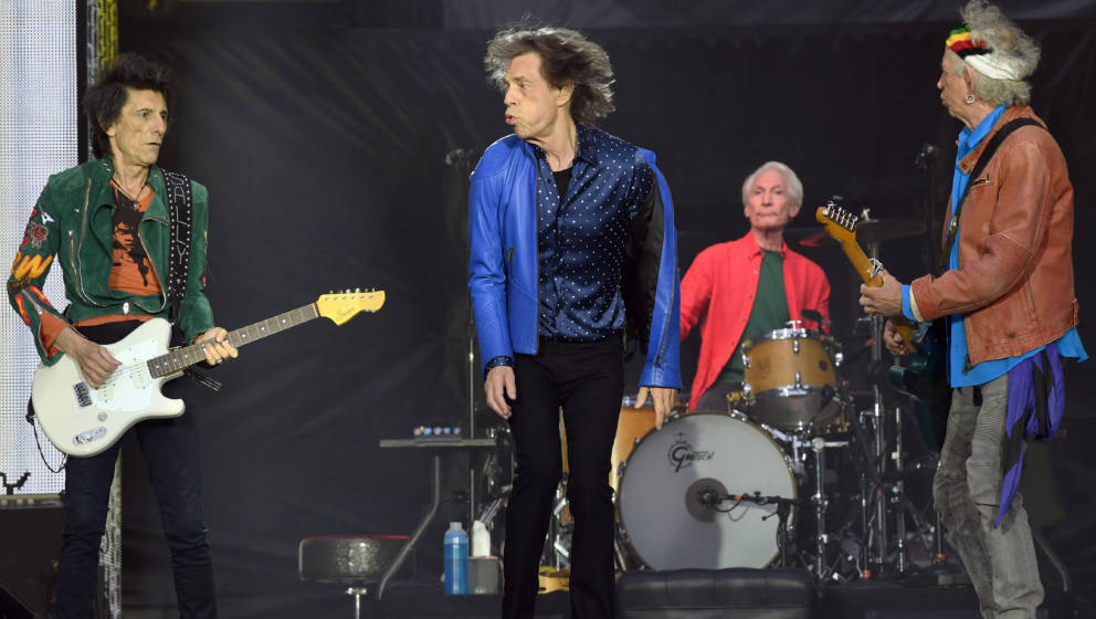 CARDIFF,  UNITED KINGDOM - JUNE 15:  Ronnie Wood, Mick Jagger, Charlie Watts and Keith Richards of The Rolling Stones perform