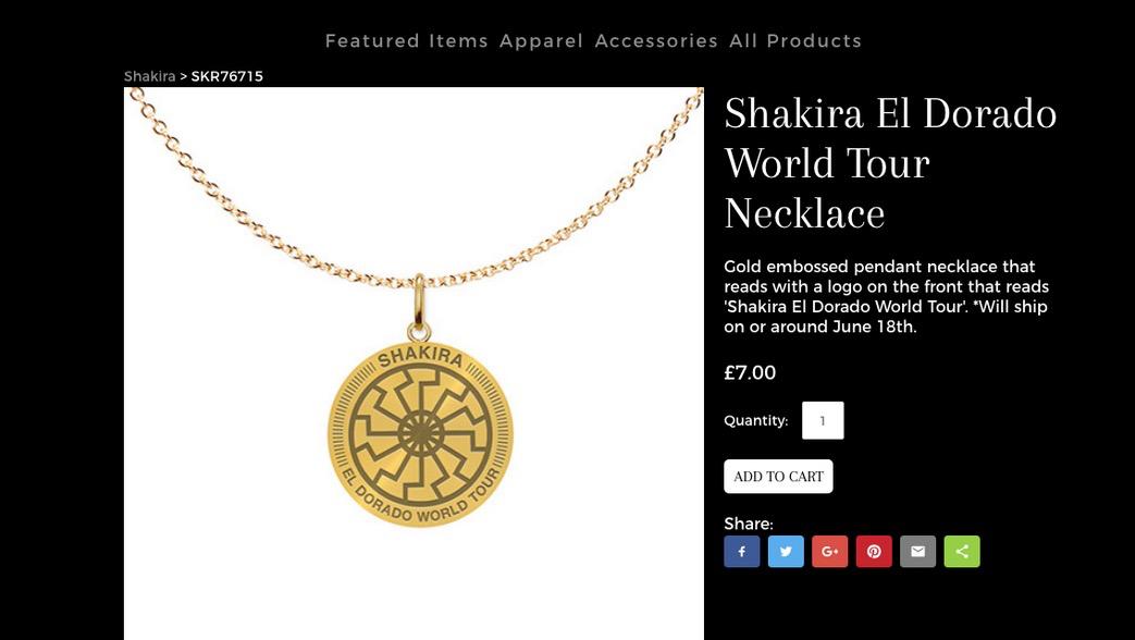 So wird die Kette in Shakiras Fanshop angeboten