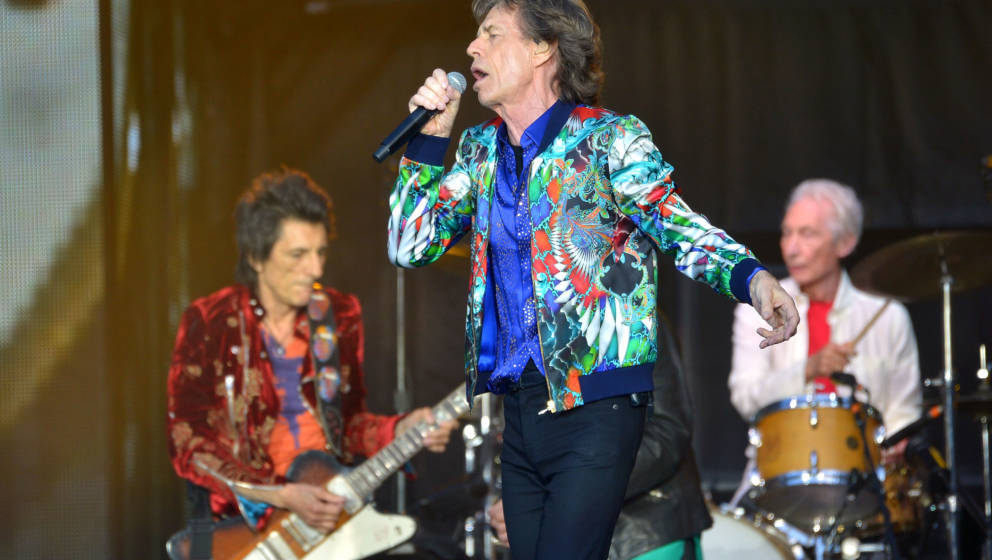 LONDON, ENGLAND - JUNE 19:  Sir Mick Jagger, Ronnie Wood and Charlie Watts of The Rolling Stones perform live on stage at Twi