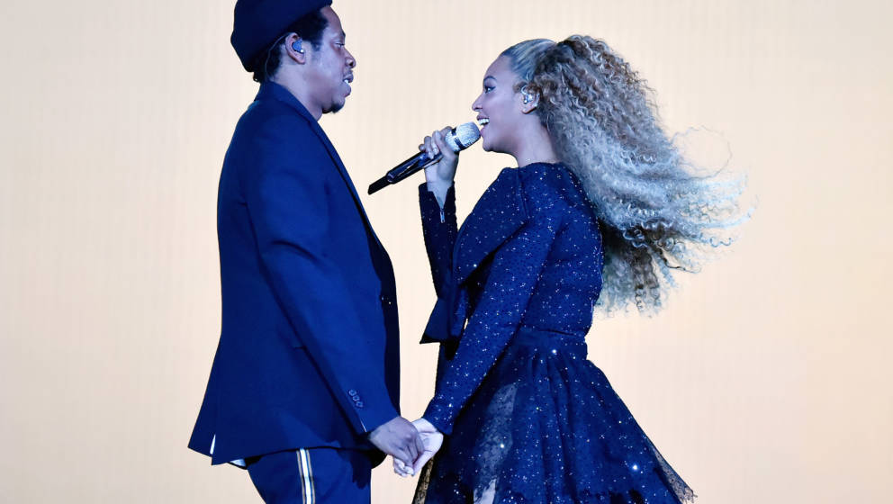 CARDIFF, WALES - JUNE 06:  Jay-Z and Beyonce Knowles perform on stage during the 'On the Run II' tour opener at Principality