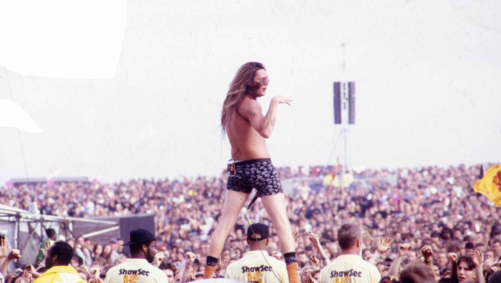 Sebastian Bach of Skid Row performs on stage, Donington, United Kingdom, 1994. (Photo by Martyn Goodacre/Getty Images)