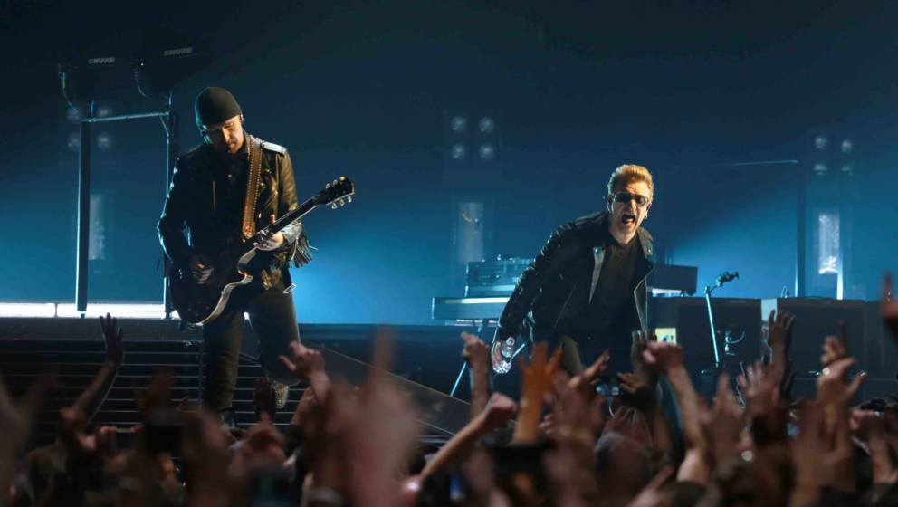 DUBLIN, IRELAND - NOVEMBER 23:  Musicians The Edge and Bono of U2 perform onstage at 3 Arena on November 23, 2015 in Dublin,