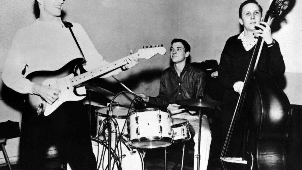 UNSPECIFIED - JANUARY 01:  Photo of Joe B MAULDIN and Jerry ALLISON and Buddy HOLLY and CRICKETS; L-R Buddy Holly and Jerry A