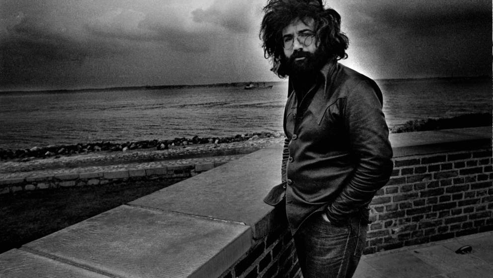 A portrait of Jerry Garcia of The Grateful Dead at the Tivoli in April 1972 in Copenhagen, Denmark. (Photo by Gijsbert Hanekr