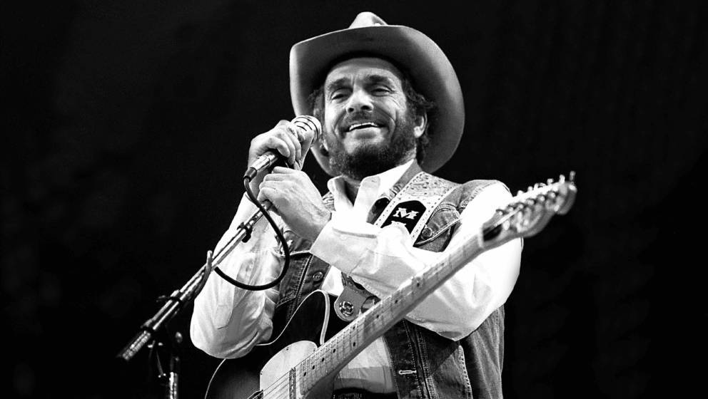 Singer and musician Merle Haggard performs, Fresno, California, April 19, 1986. (Photo by Paul Natkin/Getty Images)