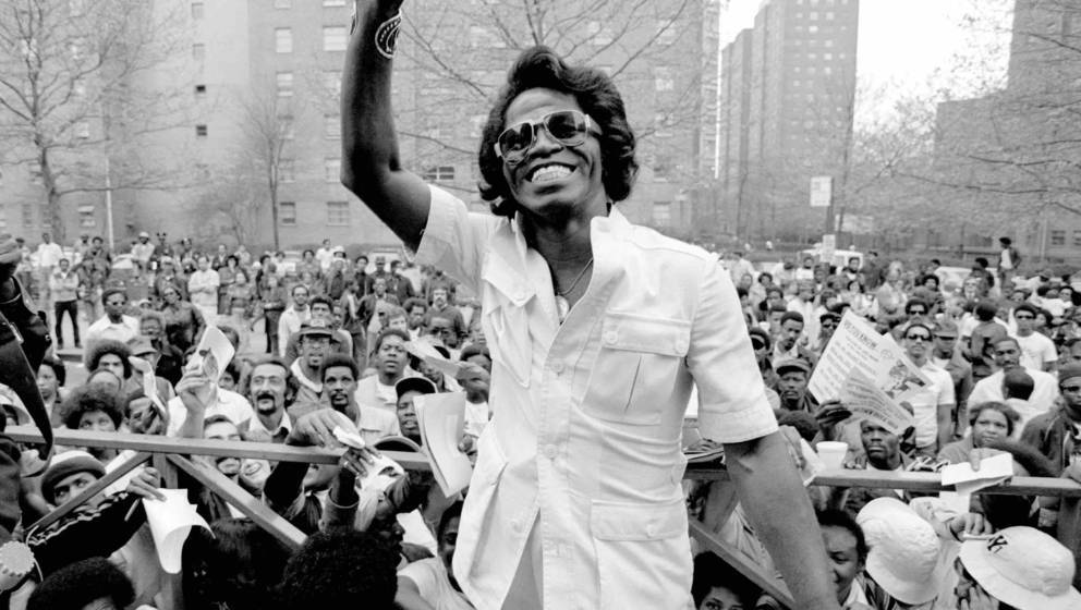 NEW YORK - MAY 03: James Brown visits Harlem in New York to meet fans on May 03 1979 (Photo by Richard E. Aaron/Redferns)