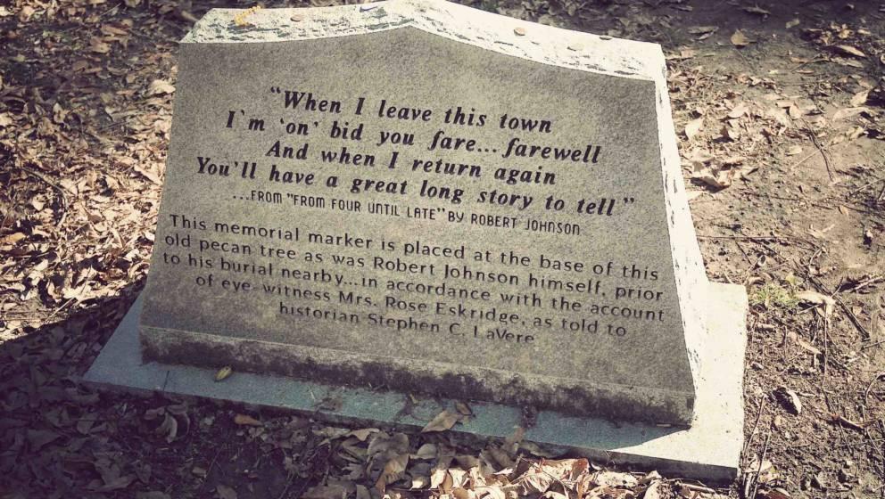 BAPTIST TOWN, UNITED STATES - SEPTEMBER 30: A memorial stone for legendary blues musician Robert Johnson. During a shoot for