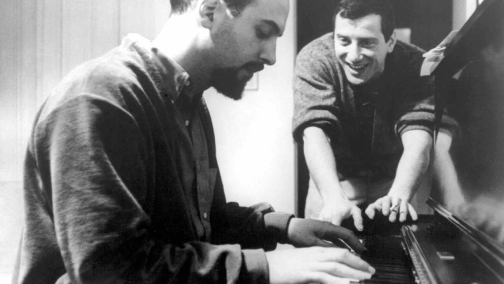 NEW YORK - CIRCA 1956:  Jerry Leiber (right) and Mike Stoller work out a tune on an upright piano in circa 1956 in New York C