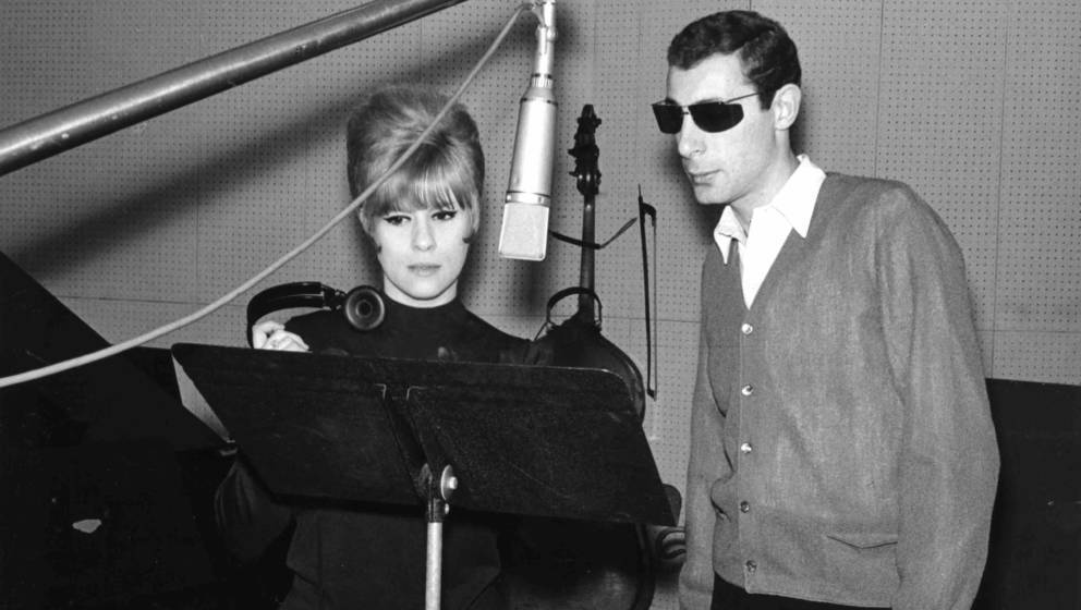 NEW YORK - 1964: Songwriters and producers Jeff Barry and Ellie Greenwich record a demo in the studio in 1964 in New York cit