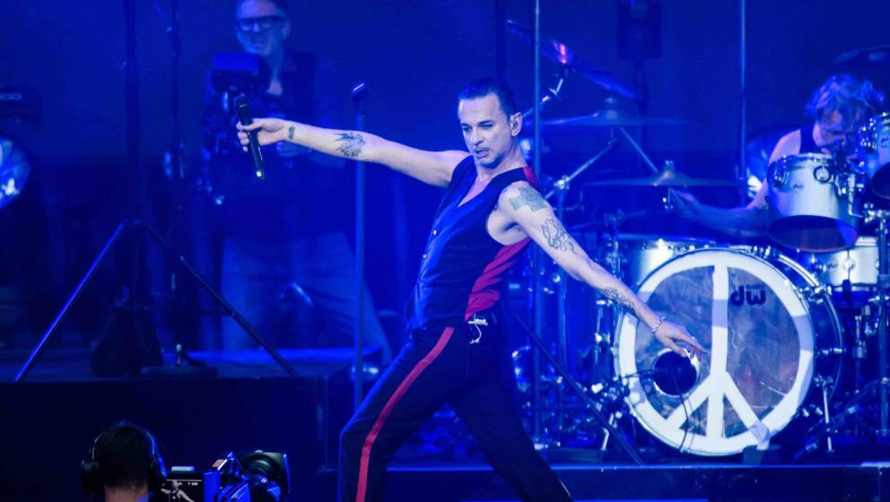 BERLIN, GERMANY - JULY 23: Singer Dave Gahan of Depeche Mode performs live on stage during a concert at Waldbuehne on July 23