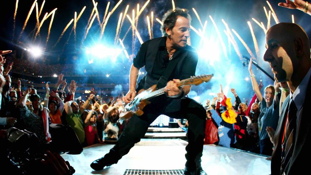 Musician Bruce Springsteen and the E Street Band  perform at the Bridgestone halftime show during Super Bowl XLIII between th
