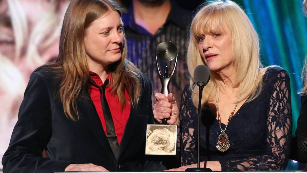 NEW YORK, NY - APRIL 10:  Kimberly Cobain and Wendy O'Connor speak onstage at the 29th Annual Rock And Roll Hall Of Fame Indu