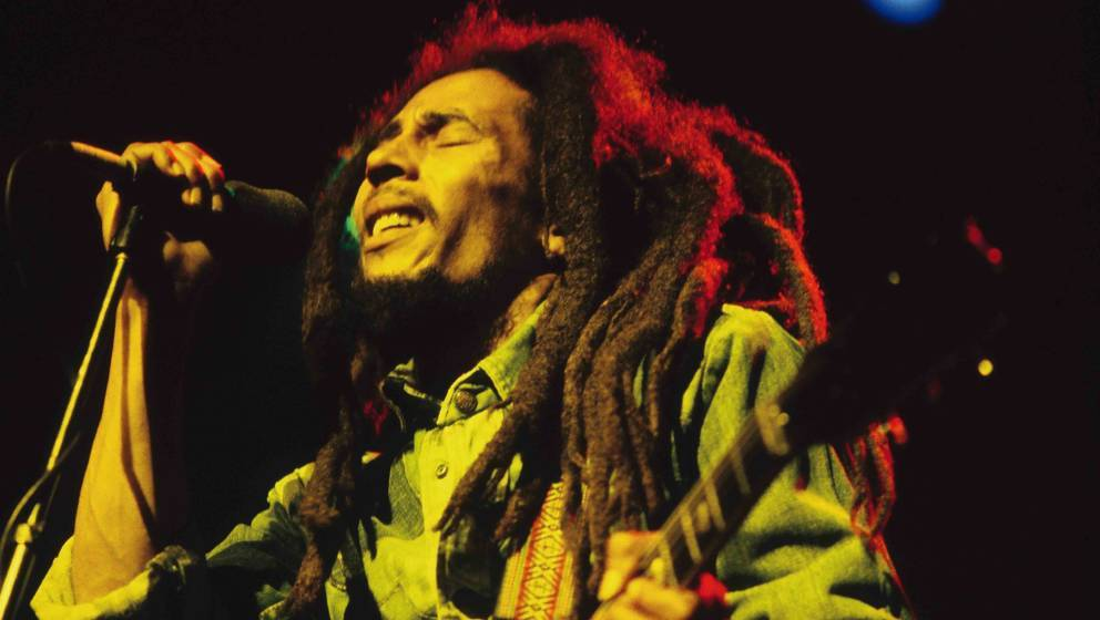 UNITED KINGDOM - JULY 01:  Photo of Bob MARLEY; Bob Marley performing live on stage at the Brighton Leisure Centre  (Photo by