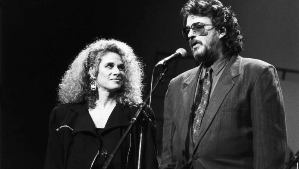 American songwriting partnership Gerry Goffin (1939 - 2014) and Carole King, on stage at a Songwriters' Academy event at the