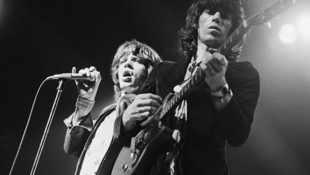 Singer Mick Jagger and guitarist Keith Richards performing with the Rolling Stones at the Empire Pool, Wembley, London, 9th S