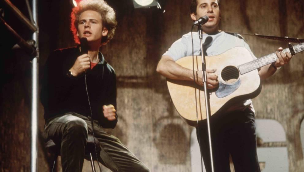 WEMBLEY, ENGLAND: Pop duo Simon and Garfunkel, comprising (L-R) singer, Art Garfunkel and singer-songwriter, Paul Simon, perf