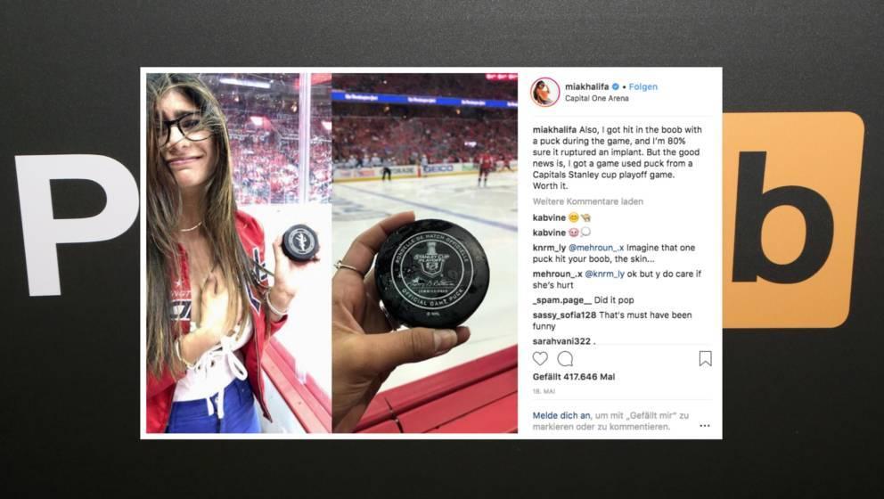 Nach dem Unfall präsentierte Mia Khalifa das Unglücksteil auf Instagram