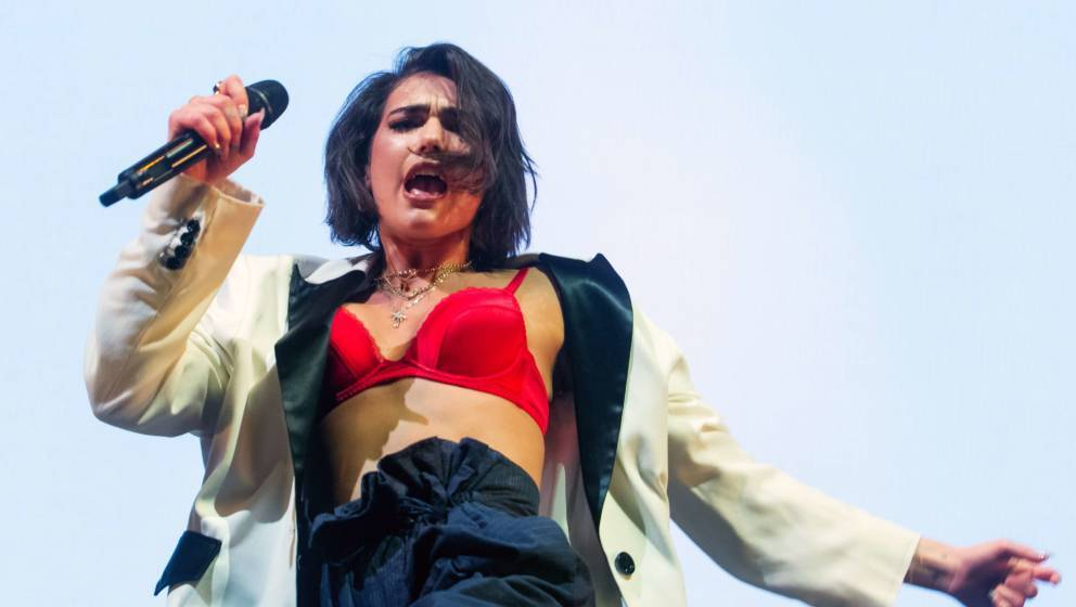 LONDON, ENGLAND - APRIL 20:  Dua Lipa performs on stage at Alexandra Palace on April 20, 2018 in London, England.  (Photo by