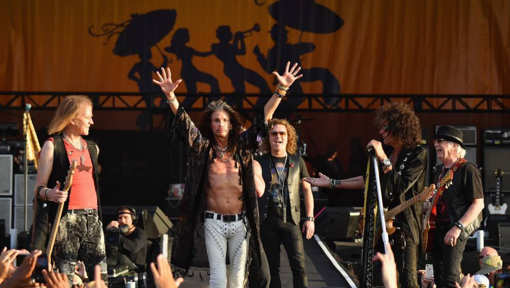 NEW ORLEANS, LA - MAY 05:  (L-R) Tom Hamilton, Steven Tyler, Joe Perry and Brad Whitford of Aerosmith perform onstage during