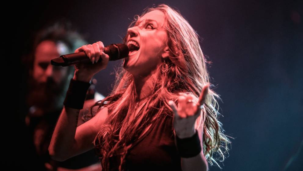 LONDON, UNITED KINGDOM - JANUARY 18: Jill Janus of Huntress performs on stage at Brixton Academy on January 18, 2014 in Londo