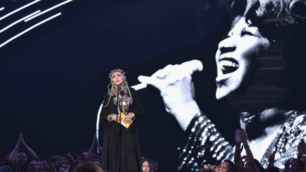 NEW YORK, NY - AUGUST 20:  Madonna presents onstage during 2018 MTV Video Music Awards at Radio City Music Hall on August 20,