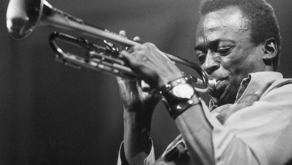 American jazz musician and composer Miles Davis (1926 - 1991) playing the trumpet, circa 1970.   (Photo by Express Newspapers