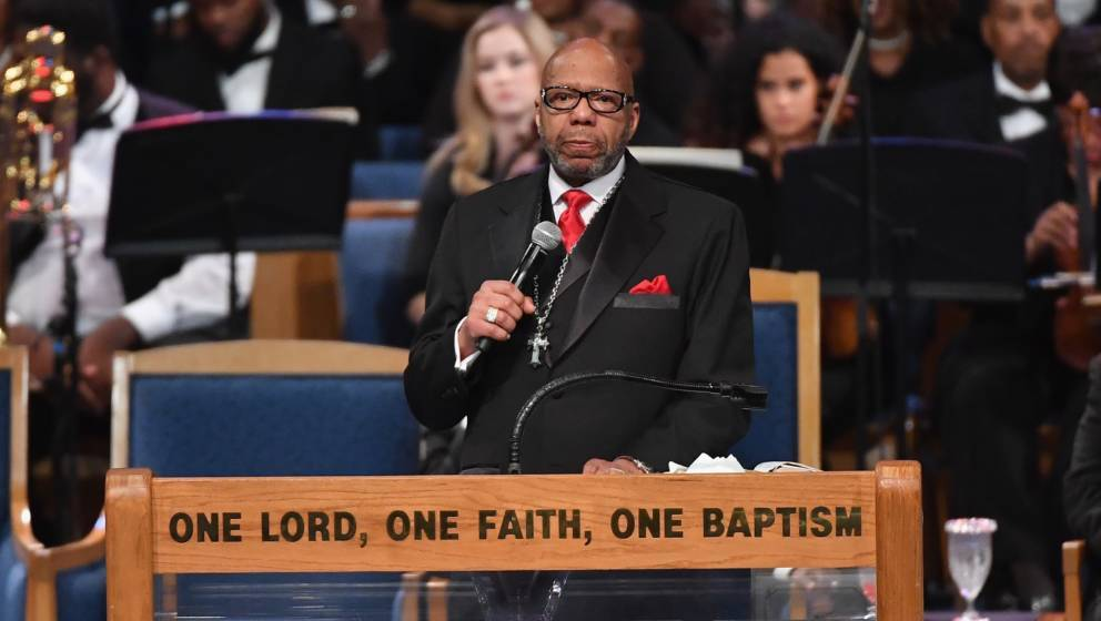 Rev. Jasper Williams Jr. gives eulogy at Aretha Franklin's funeral at Greater Grace Temple on August 31, 2018 in Detroit, Mic