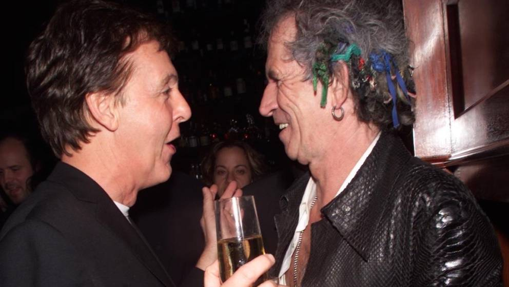 Keith Richards and Sir Paul McCartney during 2000 VH1 Vogue Fashion Awards - After Party at Hudson Hotel in New York City, Ne