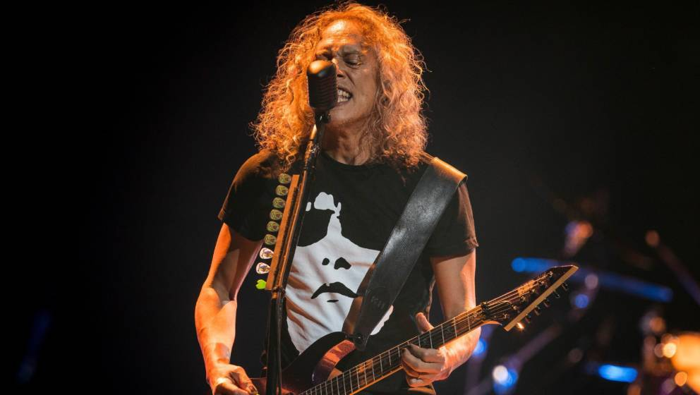 STOCKHOLM, SWEDEN - MAY 07: Kirk Hammett of Metallica performs during their 'WorldWired' tour at the Ericsson Globe Arena on