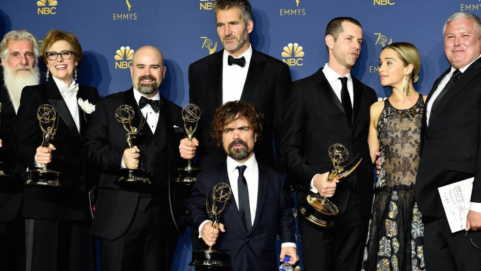 LOS ANGELES, CA - SEPTEMBER 17:  70th ANNUAL PRIMETIME EMMY AWARDS -- Pictured: Cast and crew of Game of Thrones pose with th