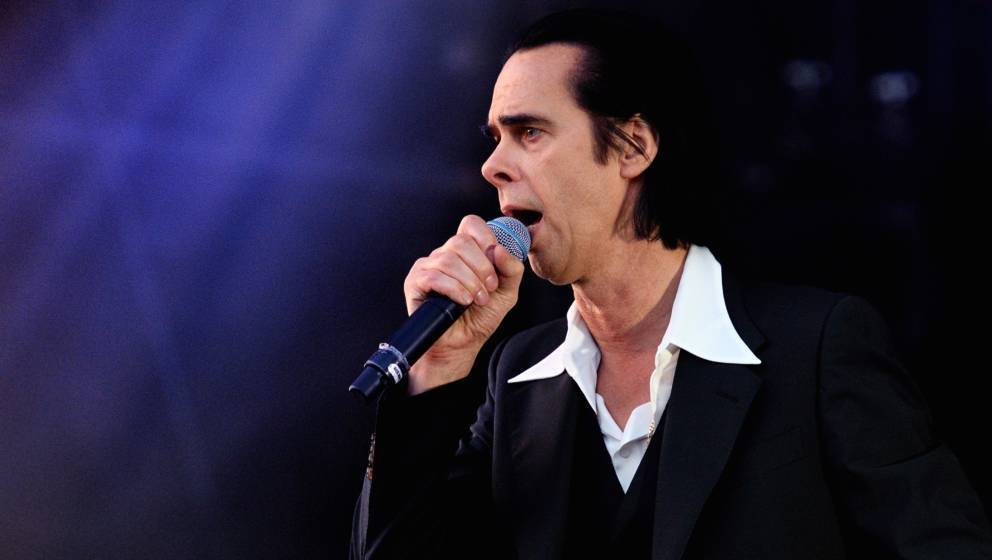 LONDON, ENGLAND - JUNE 03:  (EDITORIAL USE ONLY) Nick Cave performs on stage at All Points East  in Victoria Park on June 3,
