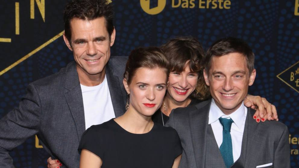 BERLIN, GERMANY - SEPTEMBER 28:  (L-R) Tom Tykwer, Liv Lisa Fries, Marie Steinmann and Volker Bruch attend the 'Babylon Berli