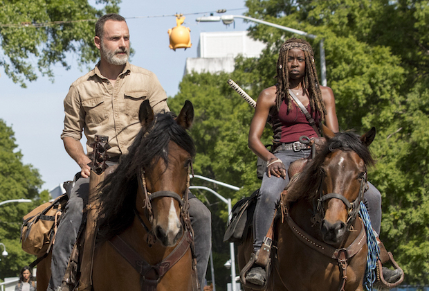 Andrew Lincoln as Rick Grimes, Danai Gurira as Michonne- The Walking Dead _ Season 9, Episode 1 - Photo Credit: Jackson Lee D