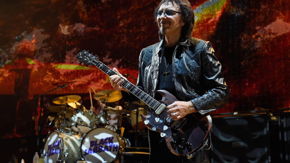 WANTAGH, NY - AUGUST 17:  Guitarist Tony Iommi of Black Sabbath performs onstage on 'The End Tour' at Nikon at Jones Beach Th