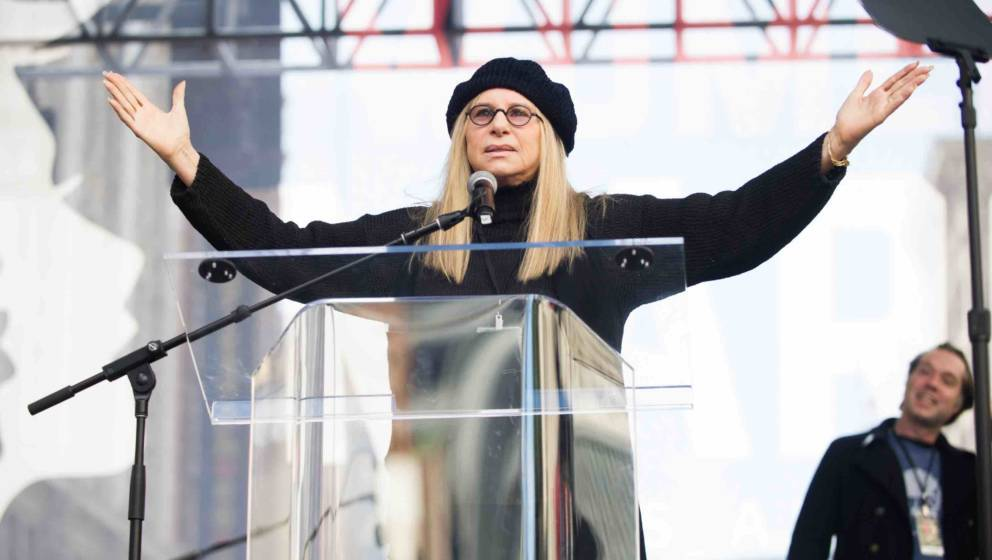 LOS ANGELES, CA - JANUARY 21:  Actress Barbra Streisand speaks onstage at the women's march in Los Angeles on January 21, 201