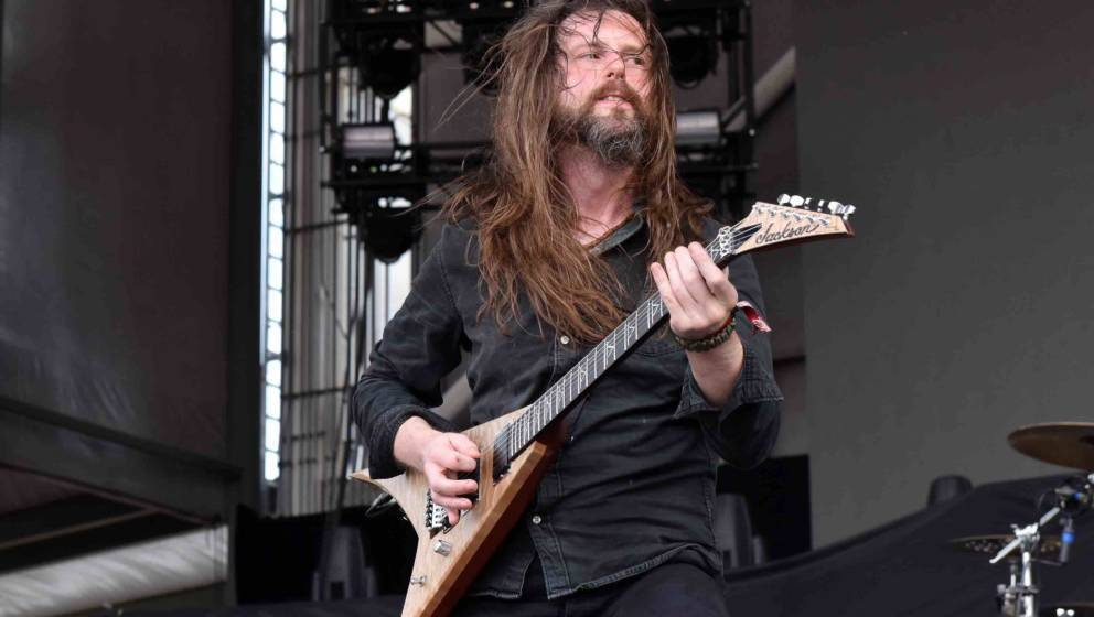 BRIDGEVIEW, IL - JULY 17:  Oli Herbert  of All That Remains performs during Chicago Open Air 2016 at Toyota Park on July 17,