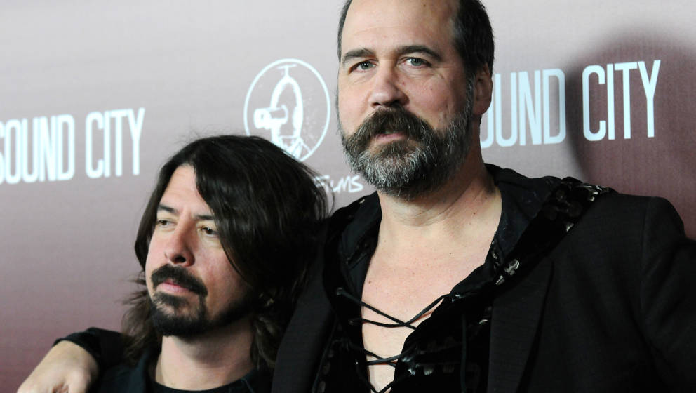 HOLLYWOOD, CA - JANUARY 31:  Dave Grohl and Krist Novoselic of Nirvana attend the premiere of 'Sound City' at ArcLight Cinema